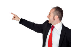 Young businessman pointing something with his hand Royalty Free Stock Photography