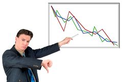 Young businessman pointing to chart, bad sales. Young businessman pointing to a (fictitious) chart, bad sales, diagram. Business, communication, economy Stock Photo