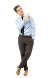 Young businessman pointing up Royalty Free Stock Image