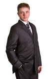 Businessman posing in a suit isolated in white Stock Photography