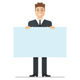 Young businessman with poster stock illustration