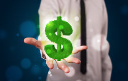 Young businessman presenting green glowing dollar sign Royalty Free Stock Images