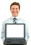 Young businessman presenting a laptop ,screen with