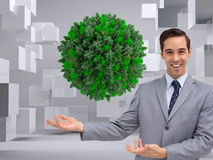 Young businessman presenting something Stock Images