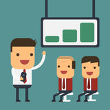Young businessman presenting to their boss, Vector cartoon concept abstract business Royalty Free Stock Photos
