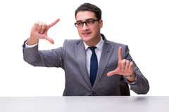 Young businessman pressing virtual buttons isolated on white bac Royalty Free Stock Images