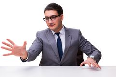 Young businessman pressing virtual buttons isolated on white bac Stock Image