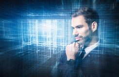Young businessman projecting a new plan. Digital, virtual reality stock image