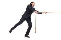 Young businessman pulling rope isolated Royalty Free Stock Photography
