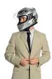 Young Businessman with Racing Helmet Stock Images