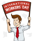 Young Businessman Ready to March in Workers' Day, Vector Illustration. Business man marching with a sign in red on 1st of May, International Workers' Day Royalty Free Stock Photos