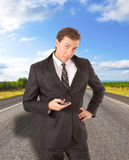Young businessman requesting assistance stock photo