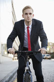 Young businessman riding bicycle on street Stock Image