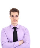 Young businessman rolling eyes, isolated Stock Images