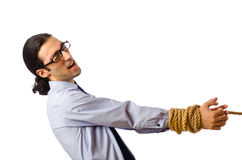 Young businessman  with rope Stock Image