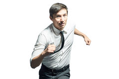Young businessman running fast Royalty Free Stock Photos