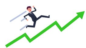 Young businessman running up with green growing graph vector.Cartoon business man rise with line.Success and business goal. Concept Stock Photos