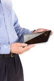 Young businessman's hands with tablet pc Royalty Free Stock Photos