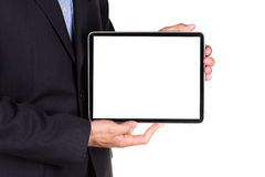Young businessman's hands with tablet pc Stock Images