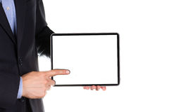 Young businessman's hands with tablet pc. Young businessman's hands working on tablet pc isolated on white Stock Photos