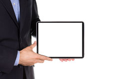Young businessman's hands with tablet pc. Young businessman's hands working on tablet pc isolated on white Stock Photography