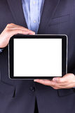 Young businessman's hands with tablet pc. Young businessman's hands working on tablet pc isolated on white Stock Photo