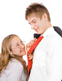 Young businessman's romance Stock Photography