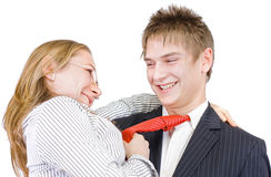 Young businessman's romance Stock Photos