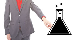 Young businessman with science symbol Royalty Free Stock Image