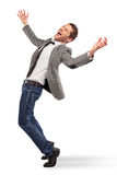 Young businessman screaming on white background Stock Image