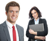 Young businessman with secretary Royalty Free Stock Images
