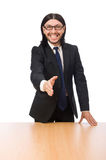The young businessman shakes hand isolated on white Stock Image