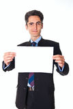 Young businessman is showing the advertisement. Stock Images