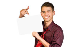 Young businessman is showing the advertisement. Royalty Free Stock Photography