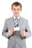 Young businessman showing a blank business card Royalty Free Stock Photography