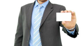 Young businessman showing card to camera stock video footage