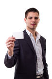 Young businessman showing empty business card Stock Images