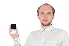 Young businessman showing mobile phone isolated Stock Image
