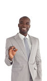 Young Businessman showing Ok sign Stock Images
