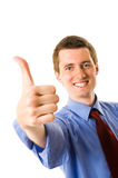 Young businessman showing thumb up Royalty Free Stock Photo