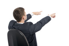 Young businessman shows his hands towards the. Stock Photography