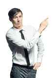 Young  businessman shows something Stock Photography