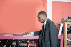 Young businessman signs a partnership royalty free stock image