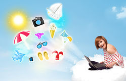 Young businessman sitting in cloud with laptop Royalty Free Stock Photography