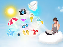 Young businessman sitting in cloud with laptop Royalty Free Stock Images