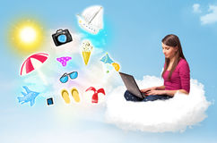 Young businessman sitting in cloud with laptop Royalty Free Stock Image