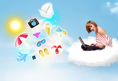 Young businessman sitting in cloud with laptop Stock Photos