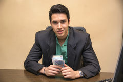 Young Businessman, Sitting at his Worktable Stock Photography
