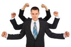 Young businessman with six fists. On white Royalty Free Stock Image