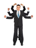 Young businessman with six fists full body Stock Image